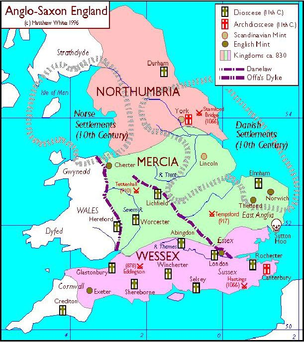 Anglo Saxon England Map Anglo Saxon England map (With images) | Saxon history, Historical