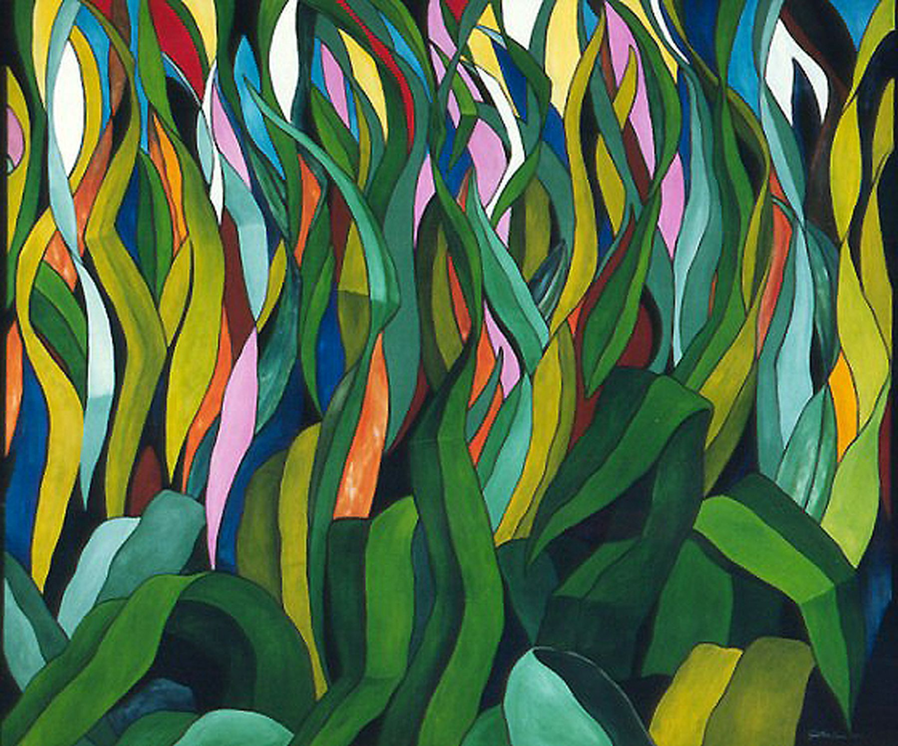 Fire grass 2001 oil on canvas 60in x 72in c jonathan