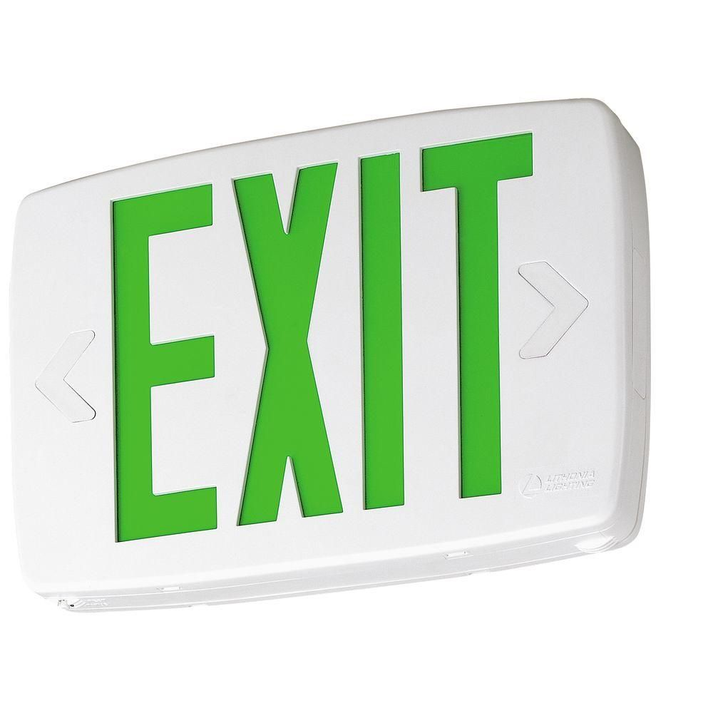 Lithonia Lighting Quantum Led Green Thermoplastic Exit Sign With