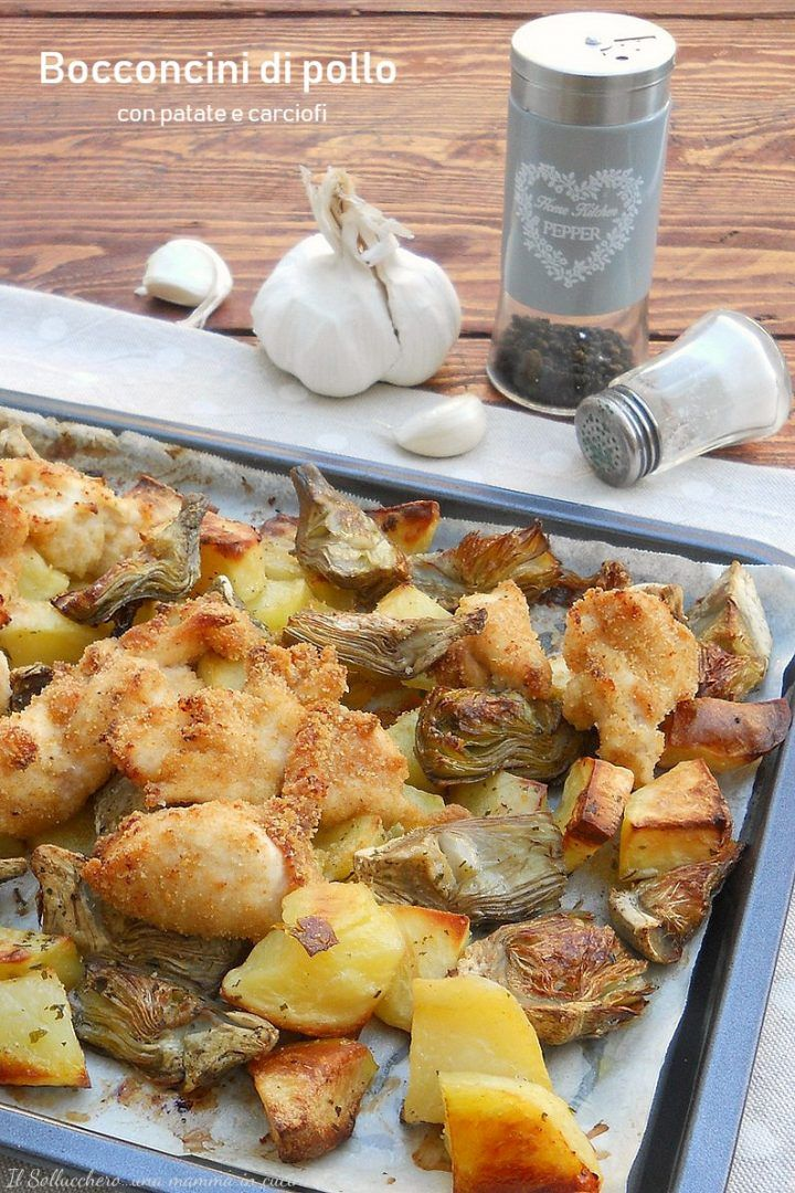 Photo of Baked chicken nuggets with potatoes and artichokes, ready …