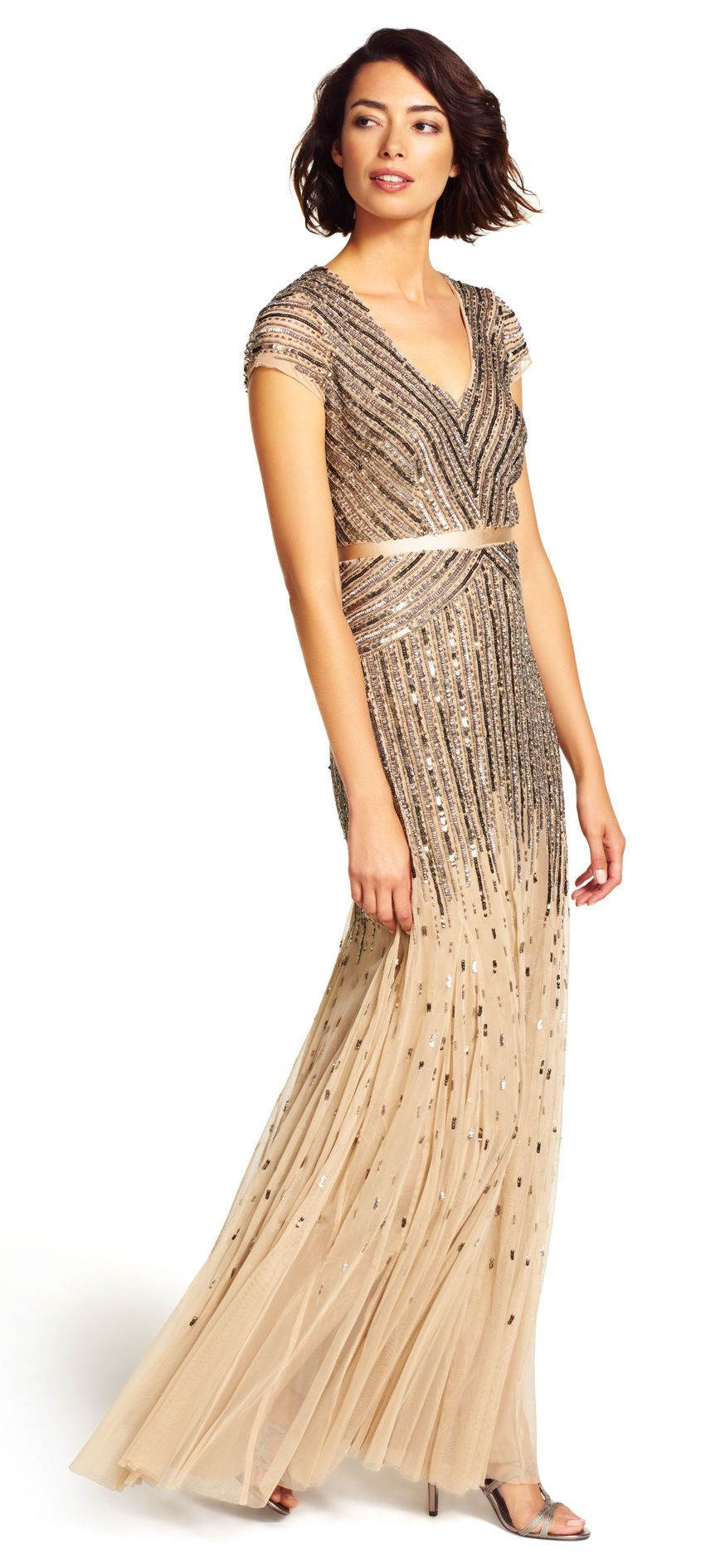 Beaded vneck gown adrianna papell gowns and bodice