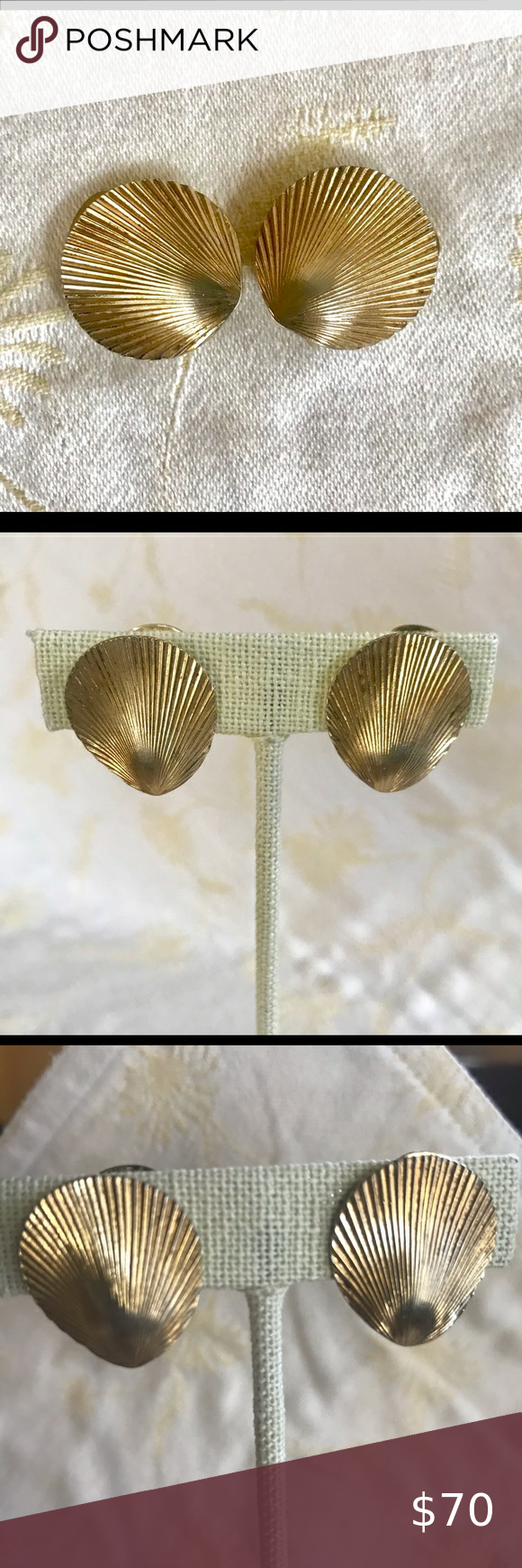 Mid Century Chr Dior Shell Clip Earrings Clip On Earrings Dior Earrings Dior Jewelry