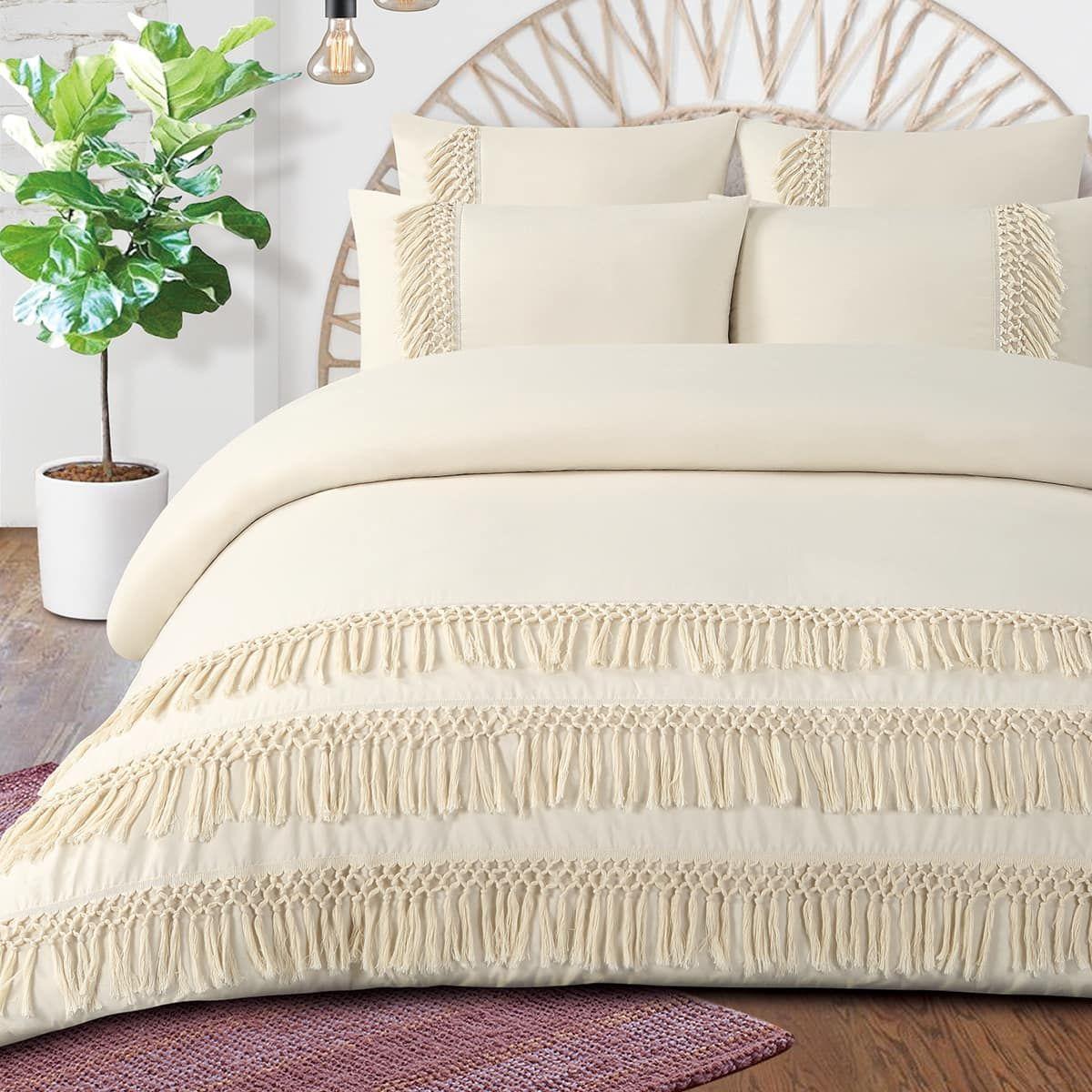 Boho Fringe Organic Cotton Percale Duvet Cover Set
