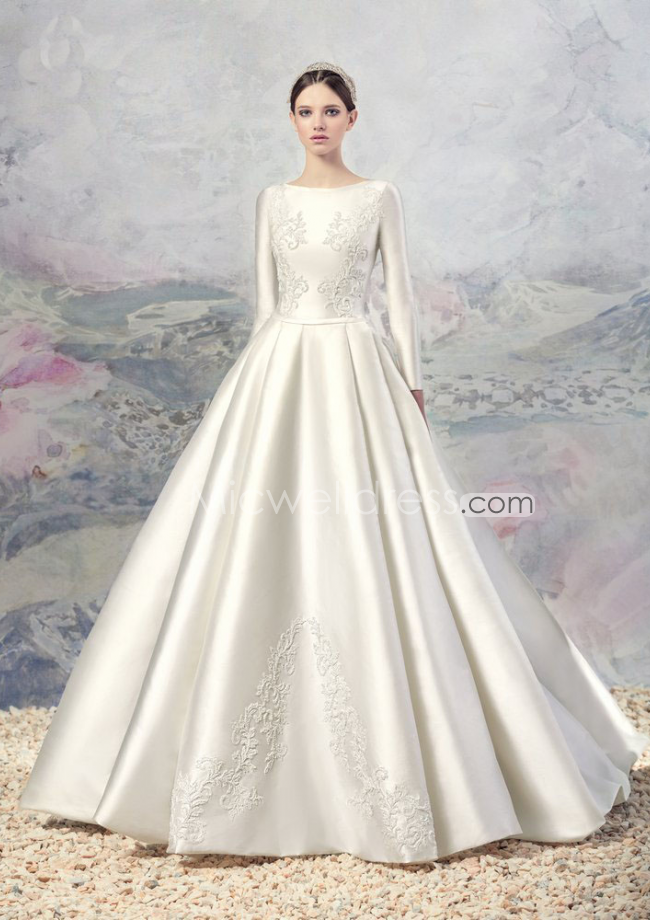 A Line Bateau Neckline Long Sleeves Satin Chapel Train Wedding Dresses With Liques Detail