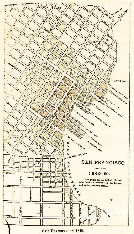 San Francisco Street Map 1849 | ARCH 18th | Pinterest | San ...