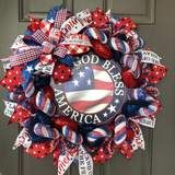 God Bless America Patriotic Wreath, Memorial Day Front Door Décor, 4th of July, Kats Creations 777