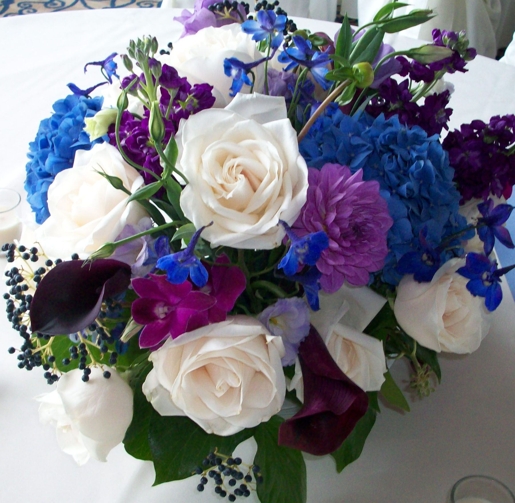 White Roses Purple Dahlia Orchids Callas Blue Hydrangea Centerpeice Wedding Flowersblue