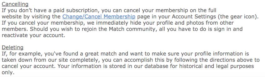 Match com how to delete account