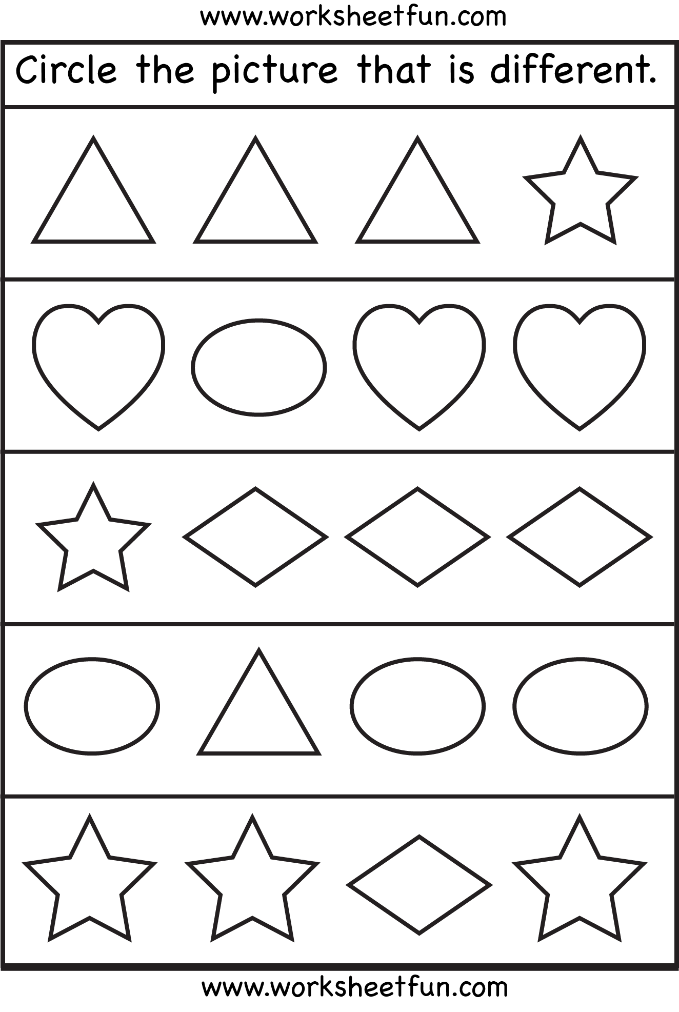 Circle the picture that is different - 3 Worksheets | Preschool ...