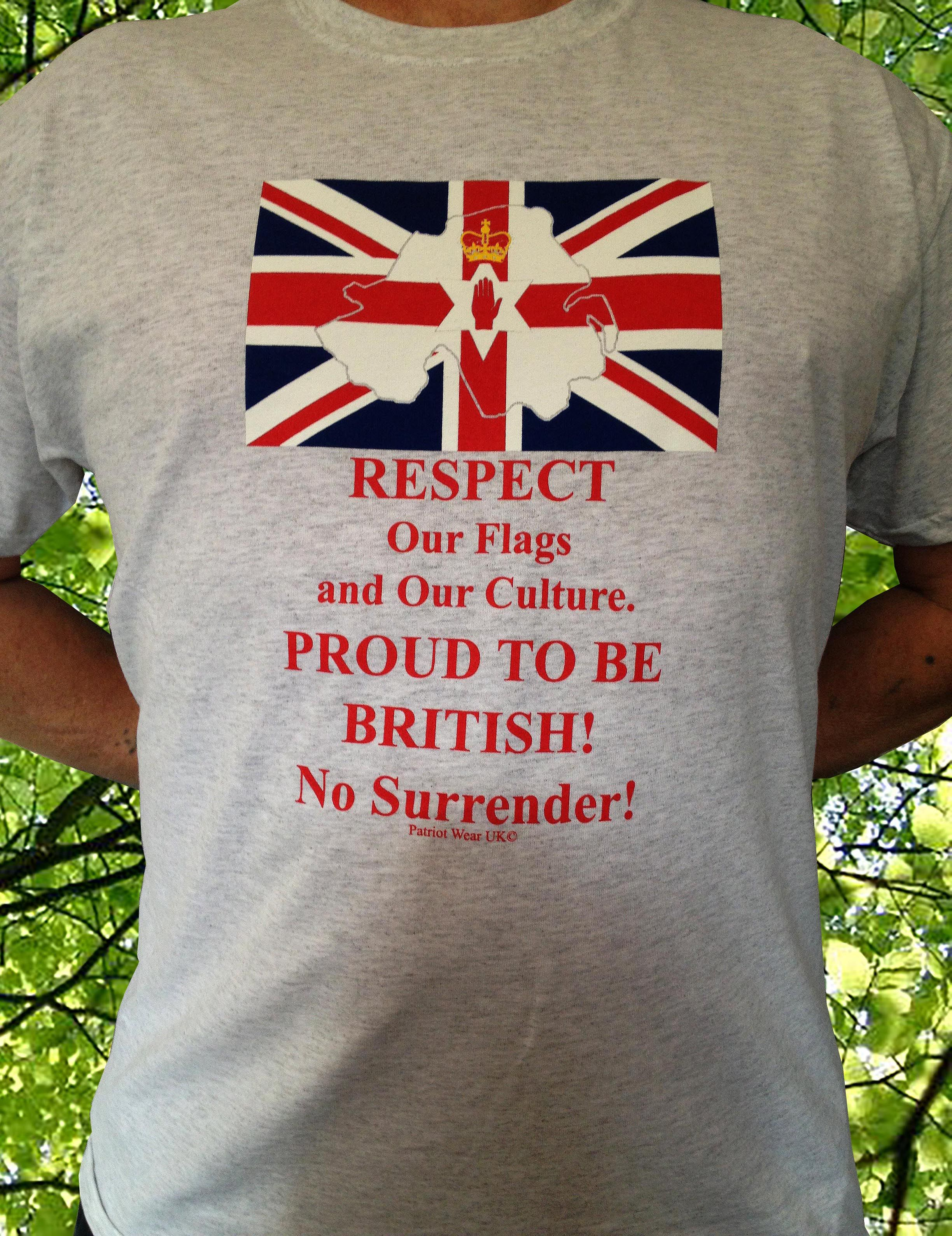 Design your own t shirt belfast - Northern Ireland Design Ash Grey Colour T Shirts Respect Our Flags And Our