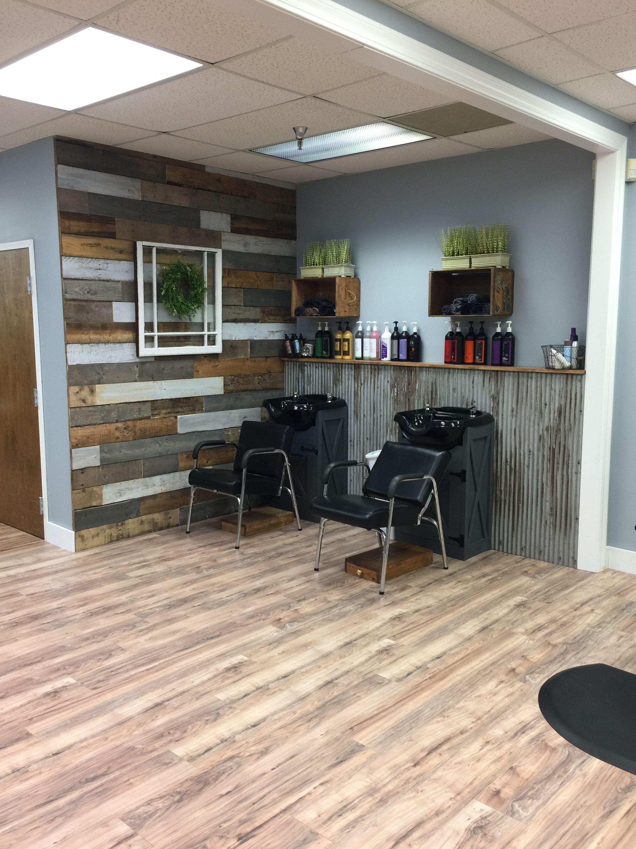 Pin By Tammylynn Vance On My Farmhouse Chic Hair Salon Spa Hair Salon Decor Hair Salon Interior Rustic Salon