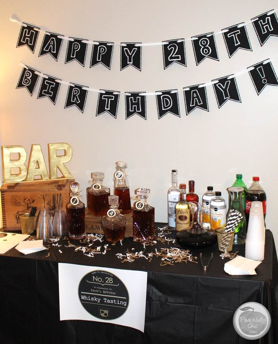 planning a guy's birthday party: whiskey tasting - manly theme party