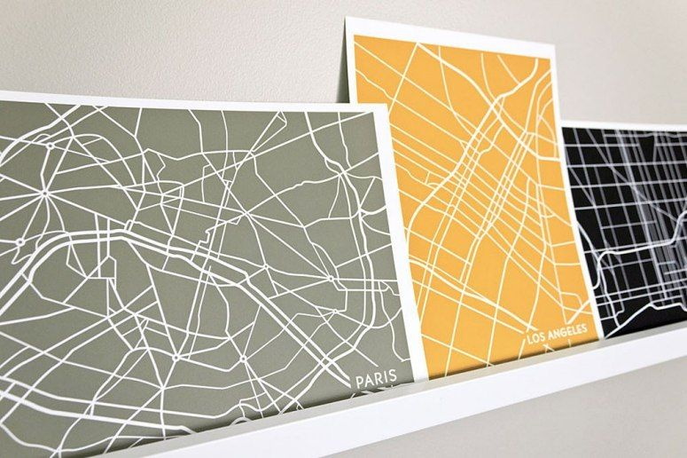 Colour Line Art Design : Artsy maps we would hang in our dream apartment city