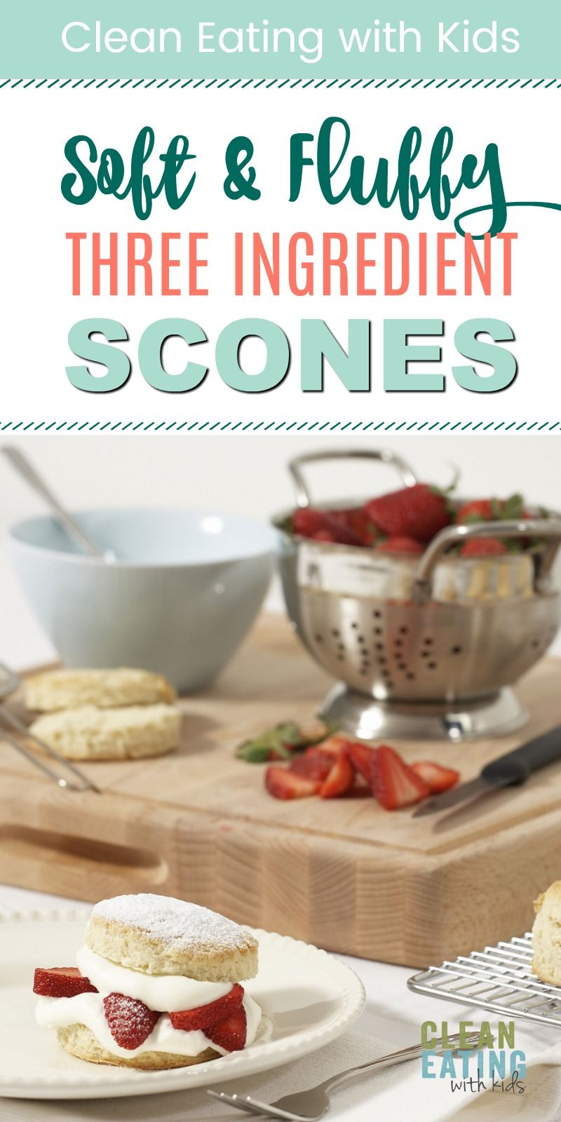 The Best Breakfast Scones (only three ingredients) with Strawberry Jam and Fresh Cream healthy three ingredient breakfast scones.
