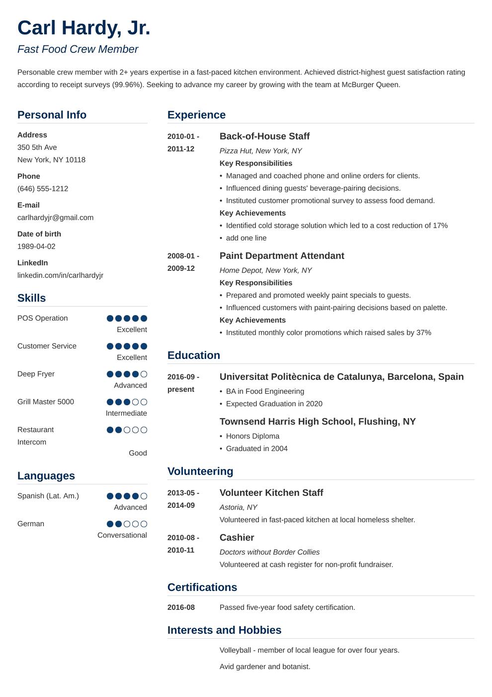 fast food resume template simple in 2020 Job resume