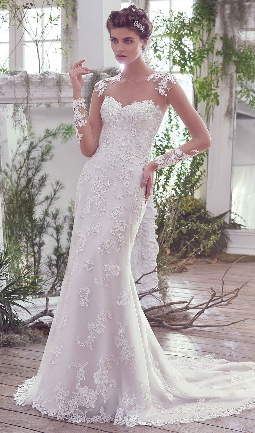 Try This Sheath Wedding Dress Finished With Pearl Buttons Over
