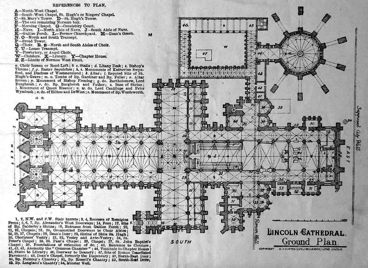 plan of lincoln cathedral note the circular chapter house top
