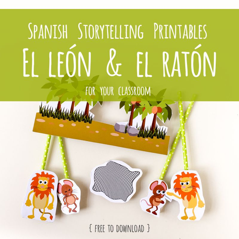 Spanish Storytelling Printable The Lion & the Mouse