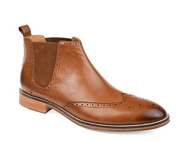 Handmade Men Tan color wing tip brogue marching boots Men ankle leather boots