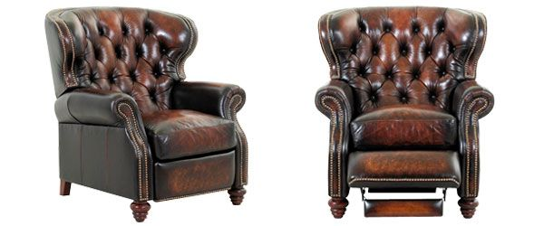 Arthur Chesterfield Leather Wingback Recliner Tufted Reclining Chair