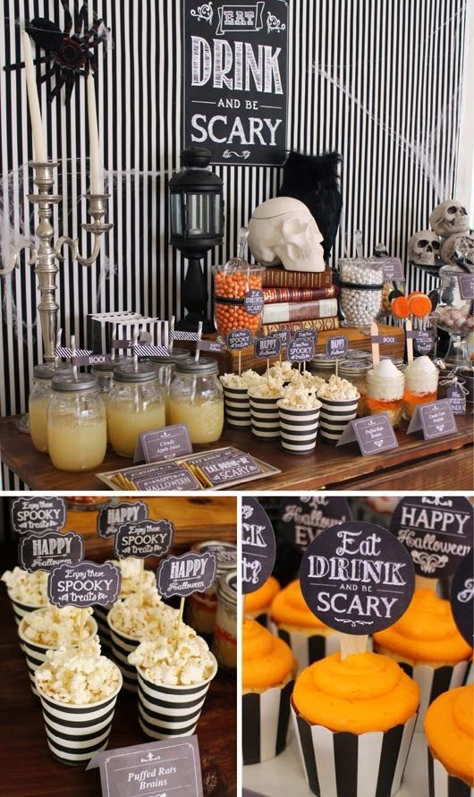 Eat drink and be scary halloween dessert table for Halloween party food ideas for kids