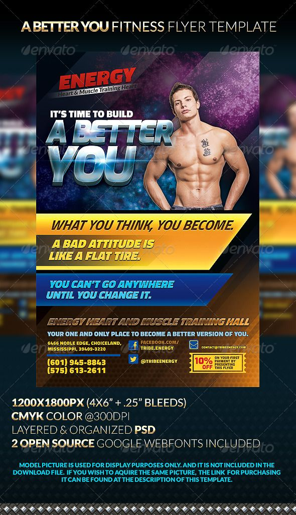 A BETTER YOU Fitness Flyer Template Flyer template, Template and - fitness flyer