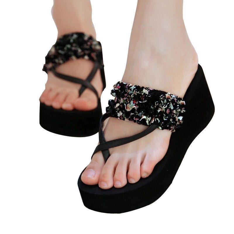 Women Bohemia Flip Flops Thong Sandals Shoe Platform Wedge Heels Beach Flower