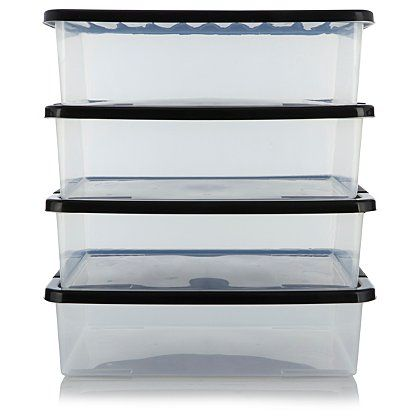 ASDA Clear 32L Underbed Storage Box 4 pack Storage George at