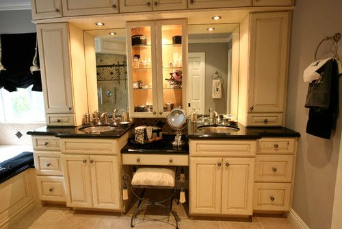 I like the overhead cabinets for the storage space....Bathroom Vanity- his and hers design