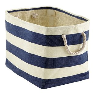 Navy Ivory Rugby Stripe Storage Bin With Rope Handles Rolling Storage Bins Storage Bins Fabric Storage Bins
