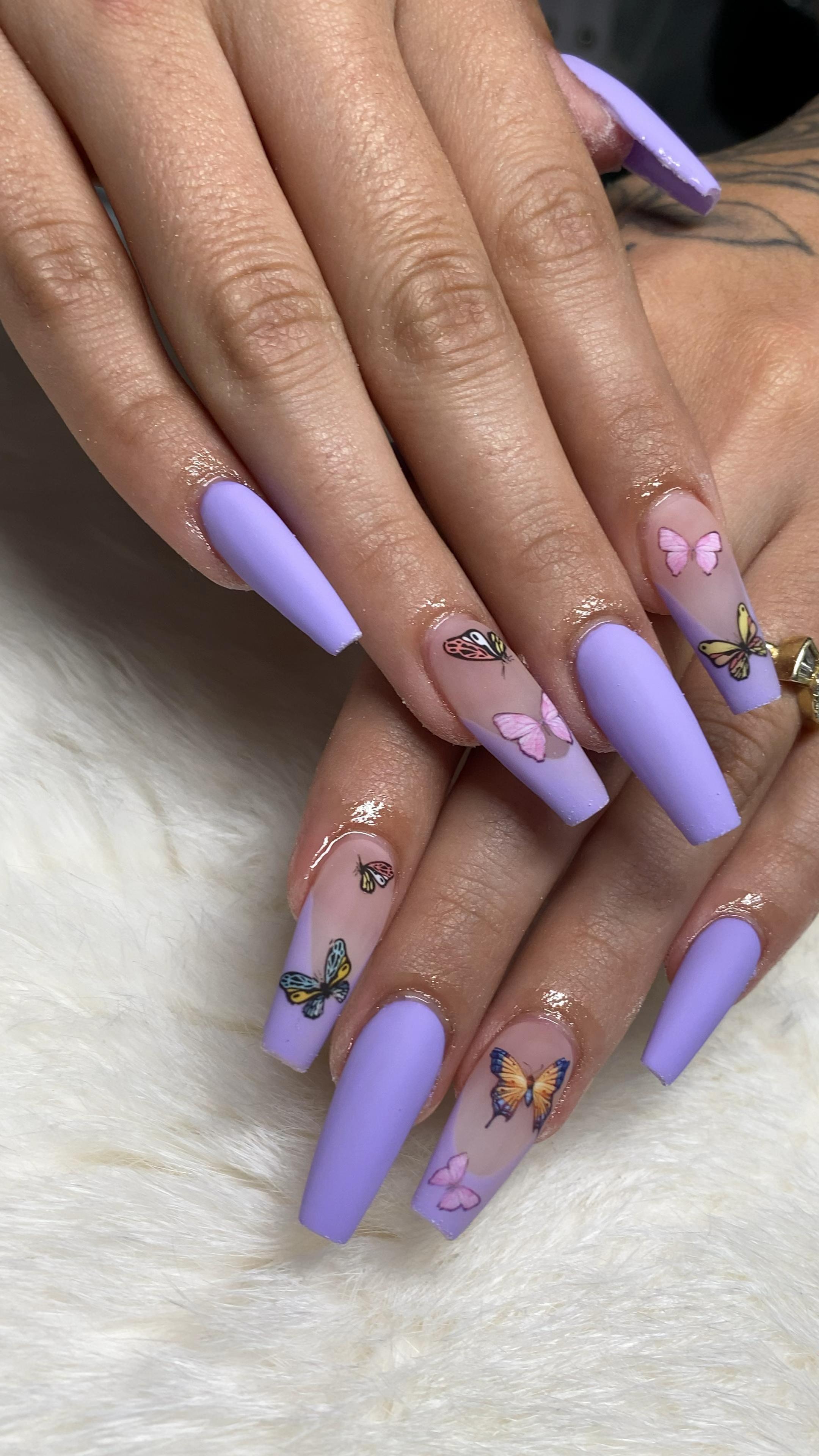 Butterfly Nail Art Matte Purple Acrylic Nails In 2020 Purple Acrylic Nails Acrylic Nails Gel Nails