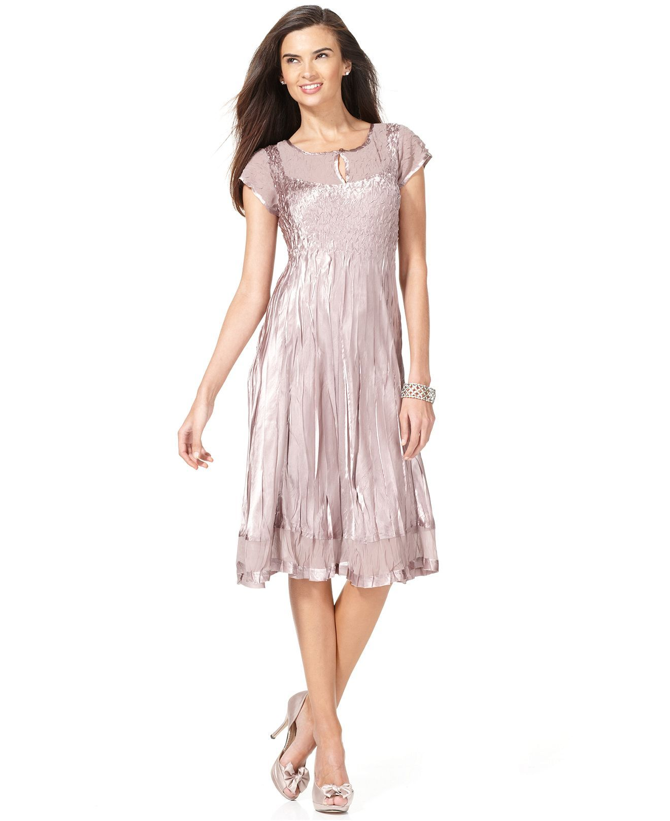 Sl sl fashion dresses - Sl Fashions Dress Short Sleeve Crinkled Satin Dresses Women Macy S