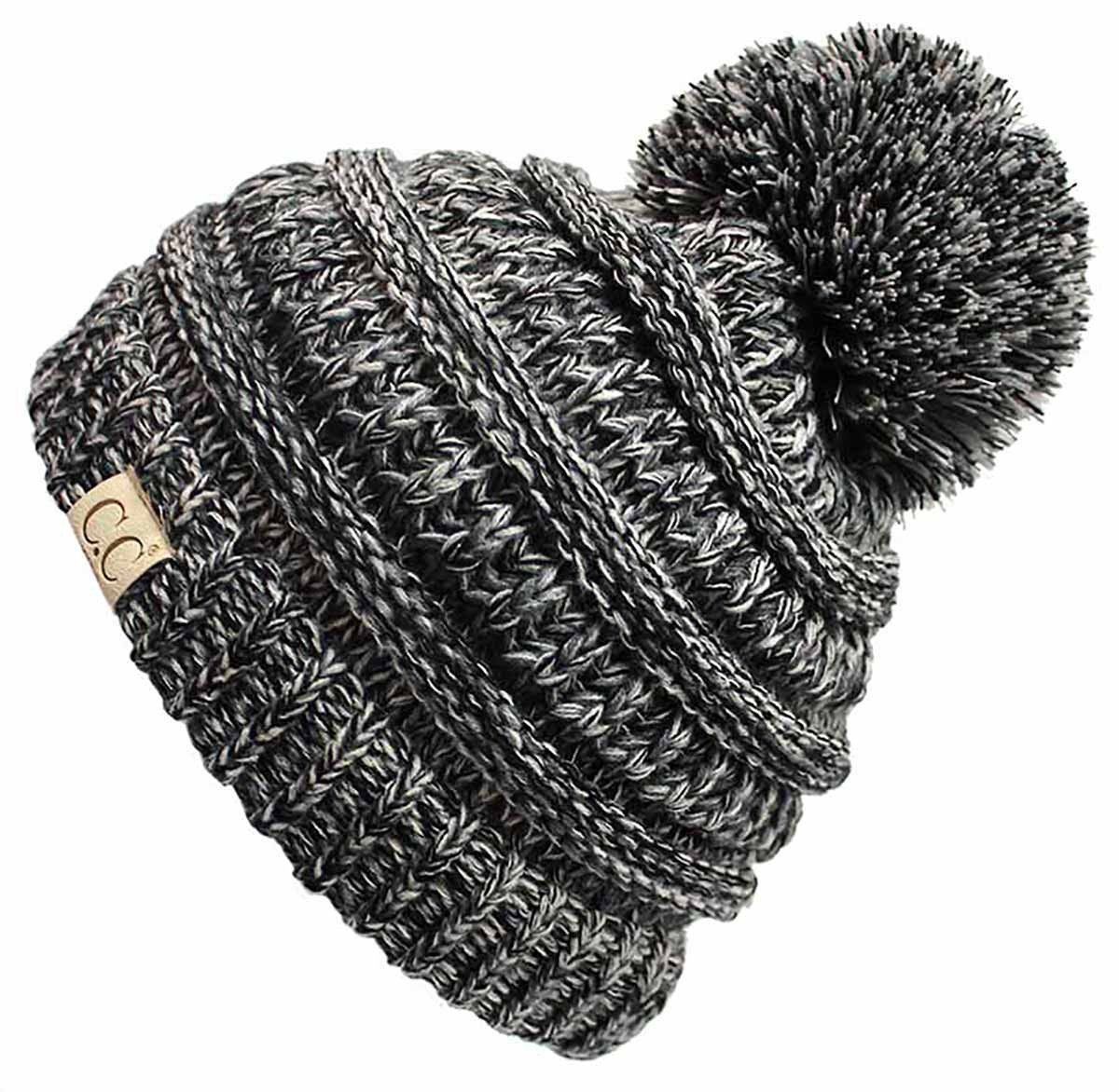 da8d9f58eef Funky Junque s CC Kids Baby Toddler Cable Knit Children s Pom Winter Hat  Beanie - 4 Tone Mix - Black
