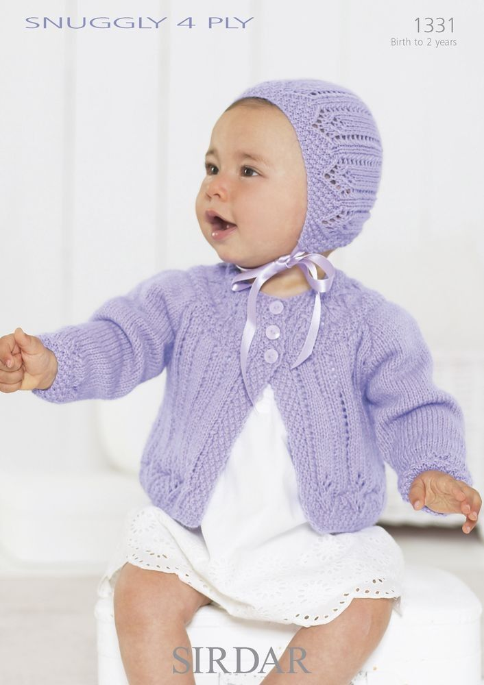 Bonnet And Cardigan In Sirdar Snuggly 4 Ply 1331 Babies For