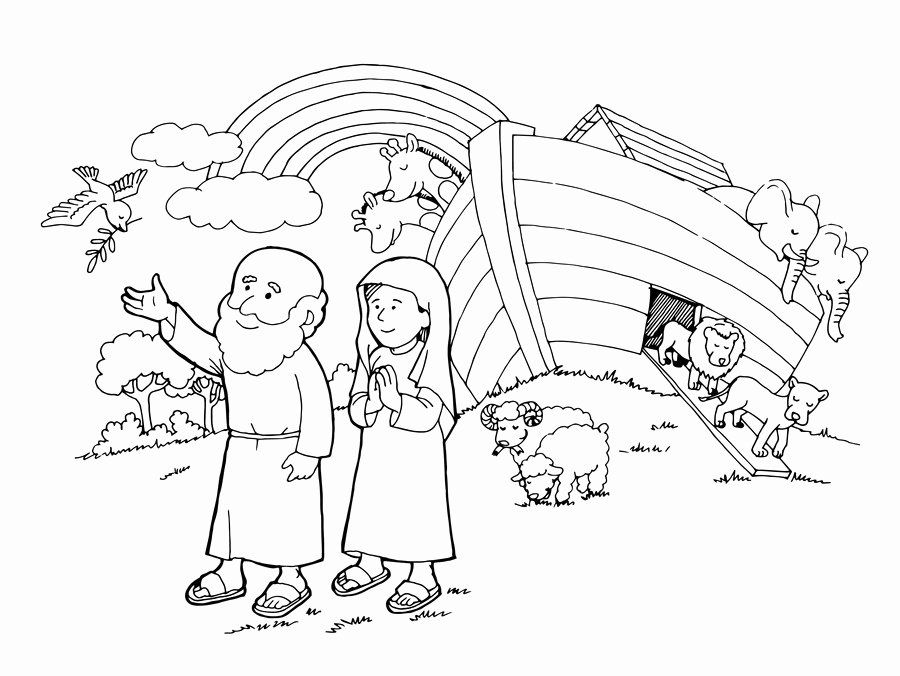 Noah And The Rainbow Coloring Page Pictures
