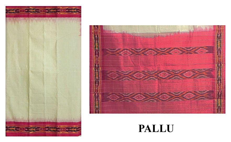 White Handwoven Sambalpuri Sari with Ikkat Design on Red Border and Pallu (Pure Cotton))