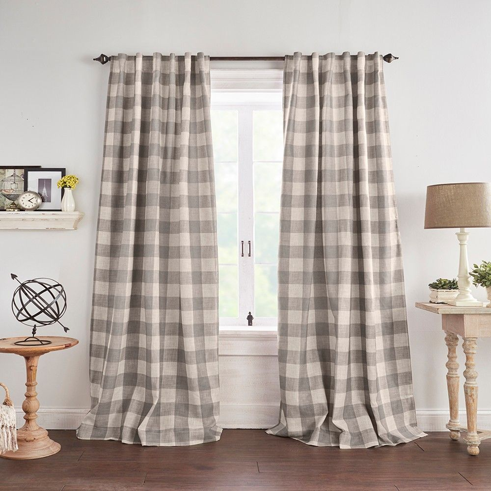 Grainger Buffalo Check Blackout Window Curtain Panel 52 X 84 Gray Elrene Home Fashions In 2020 Cool Curtains Panel Curtains Window Curtains