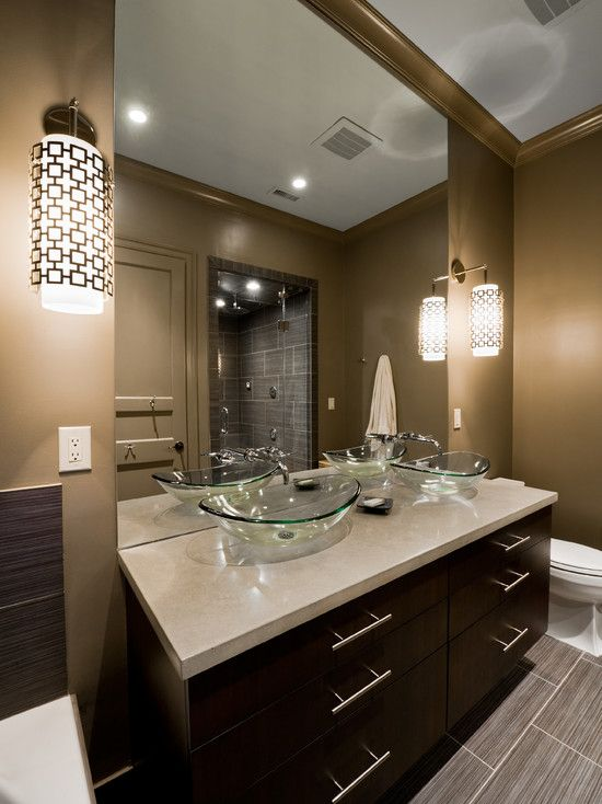 Brown and beige bathroom bathroom with golden wall and brown vanity also beige tile floor - Beige bathroom design ...
