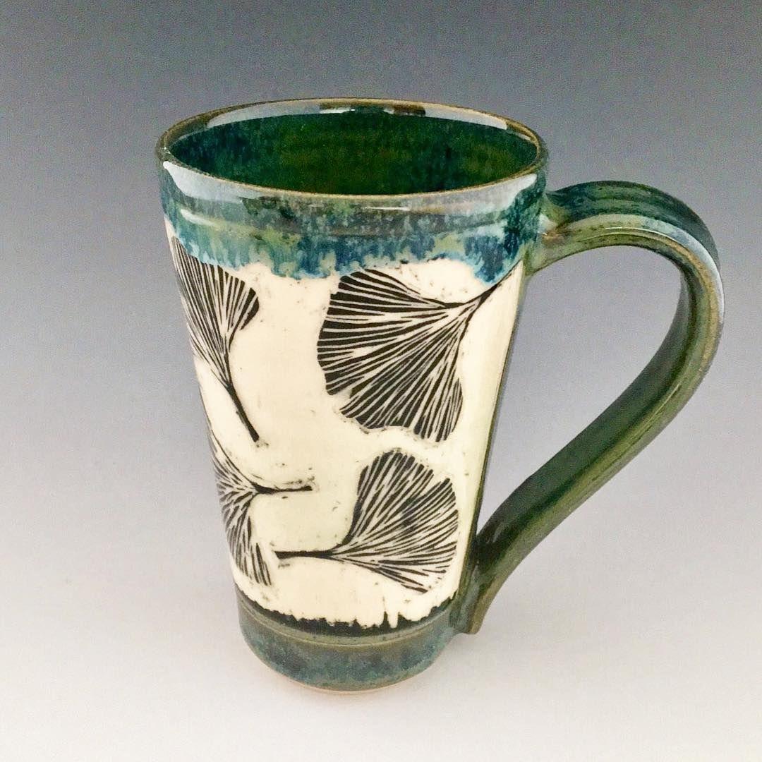 Handmade Pottery Mug Ceramic Mug Sgraffito Pottery