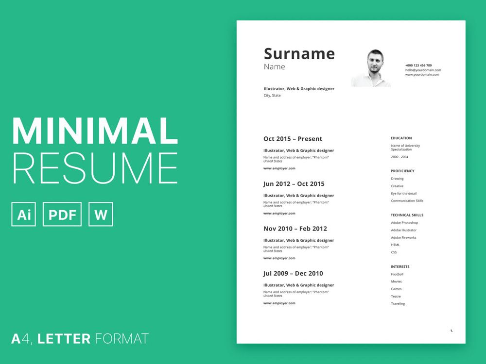 Free minimal curriculum vitae template in multiple format