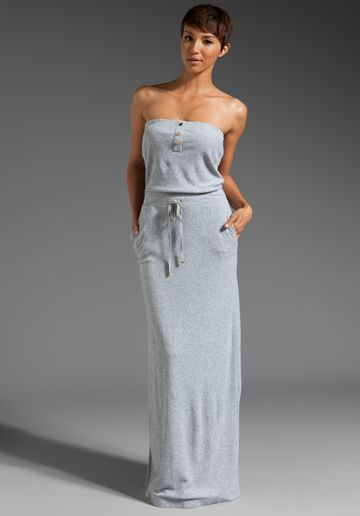 dcd2743279 JUICY COUTURE Micro Terry Tube Maxi Dress in Heather Cozy
