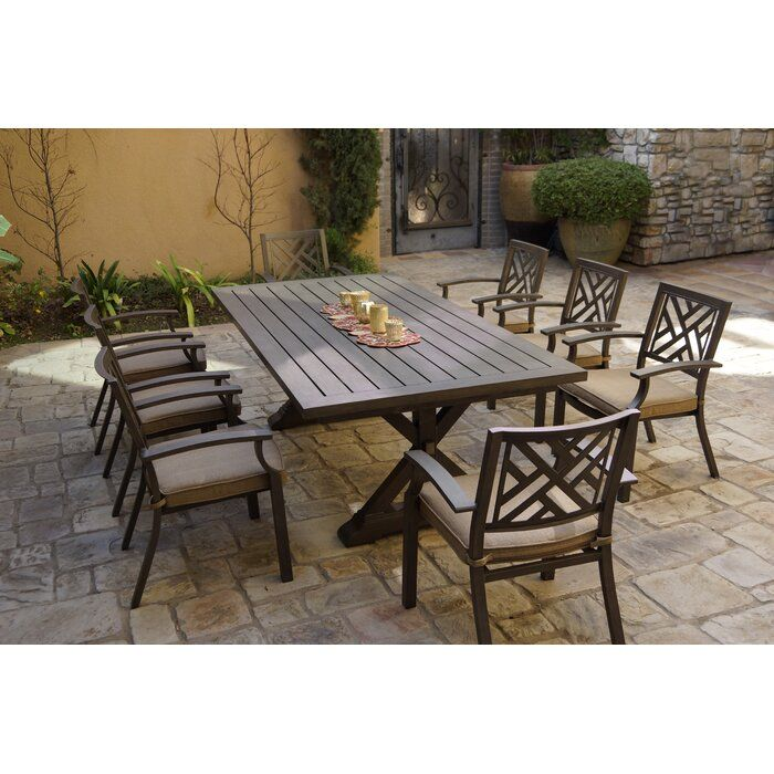 Elin 9 Piece Dining Set With Cushions Outdoor Dining Set 400 x 300