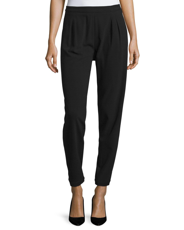 ZAC Zac Posen Easy Pleated-Front Slim Pants, Black, Women's, Size: 12