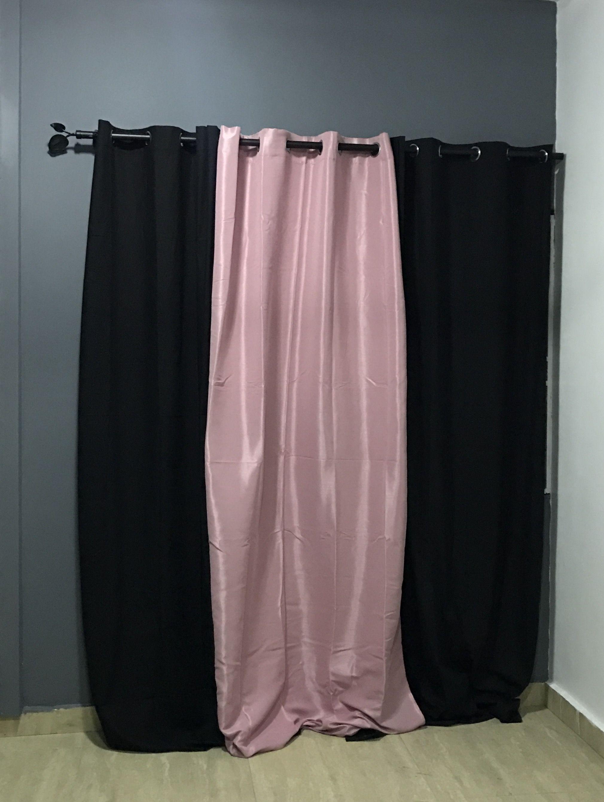 grey bedroom walls black and peach curtains dark
