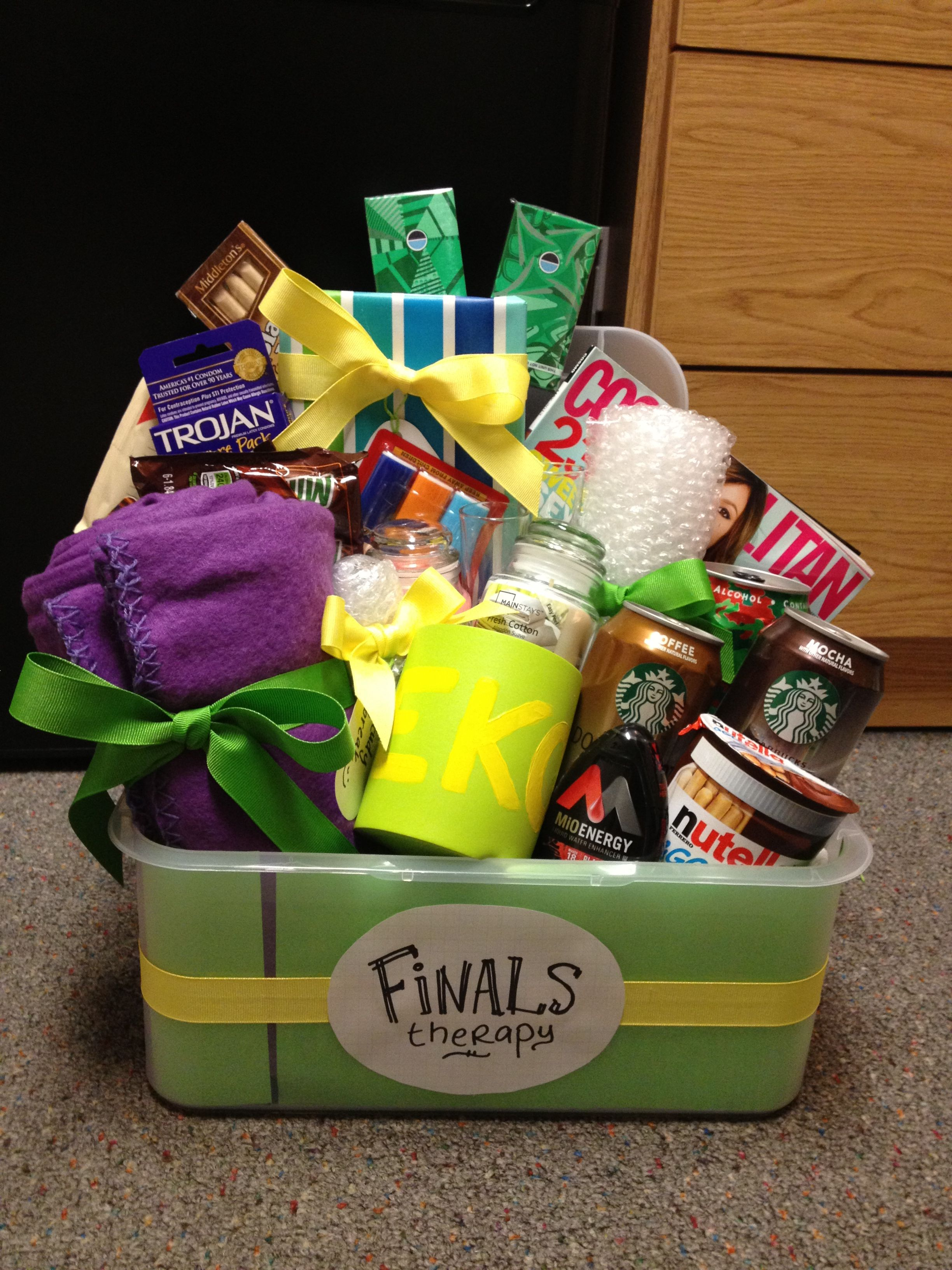 """Finals Therapy"" basket - sorority gift Without the lighters, the condoms, and the beer holder. """