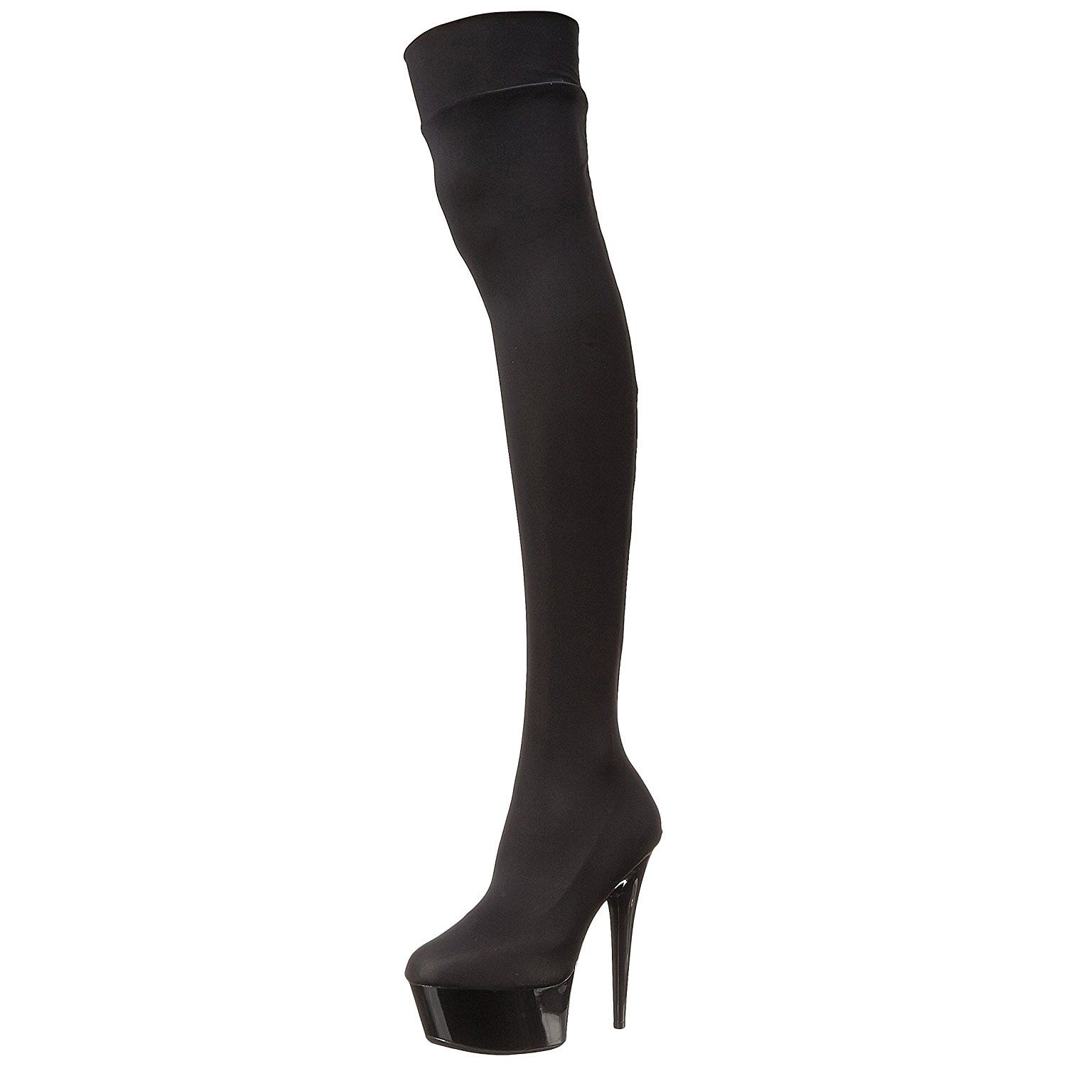 Women's Sexy Black Boots Thigh High Boots Stretch Lycra 6 Inch Heels Closed  Toe => Amazing shoe product just a click away : Over the knee boots