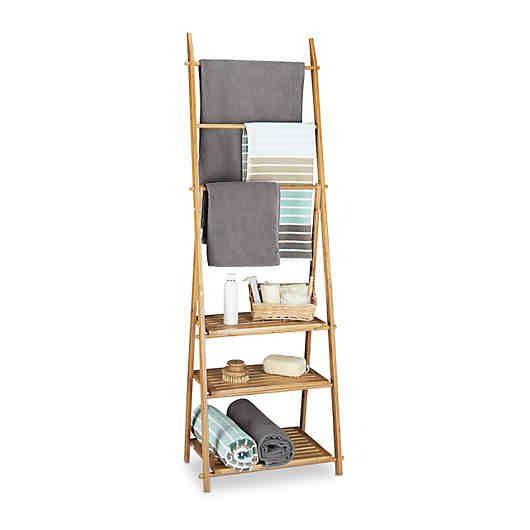 Bambus Bad Regal Mit Handtuchhalter Klappbar Handtuchhalter