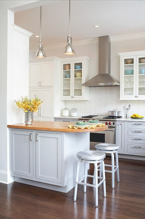 light blue base cabinets paired white upper cabinetry | My house ...