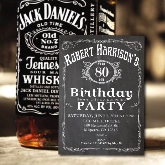 Man 80th Birthday Invitation Chalkboard Adult Surprise Vintage Whiskey Label Fun Invite Retro Printable AB14 On Etsy 1500