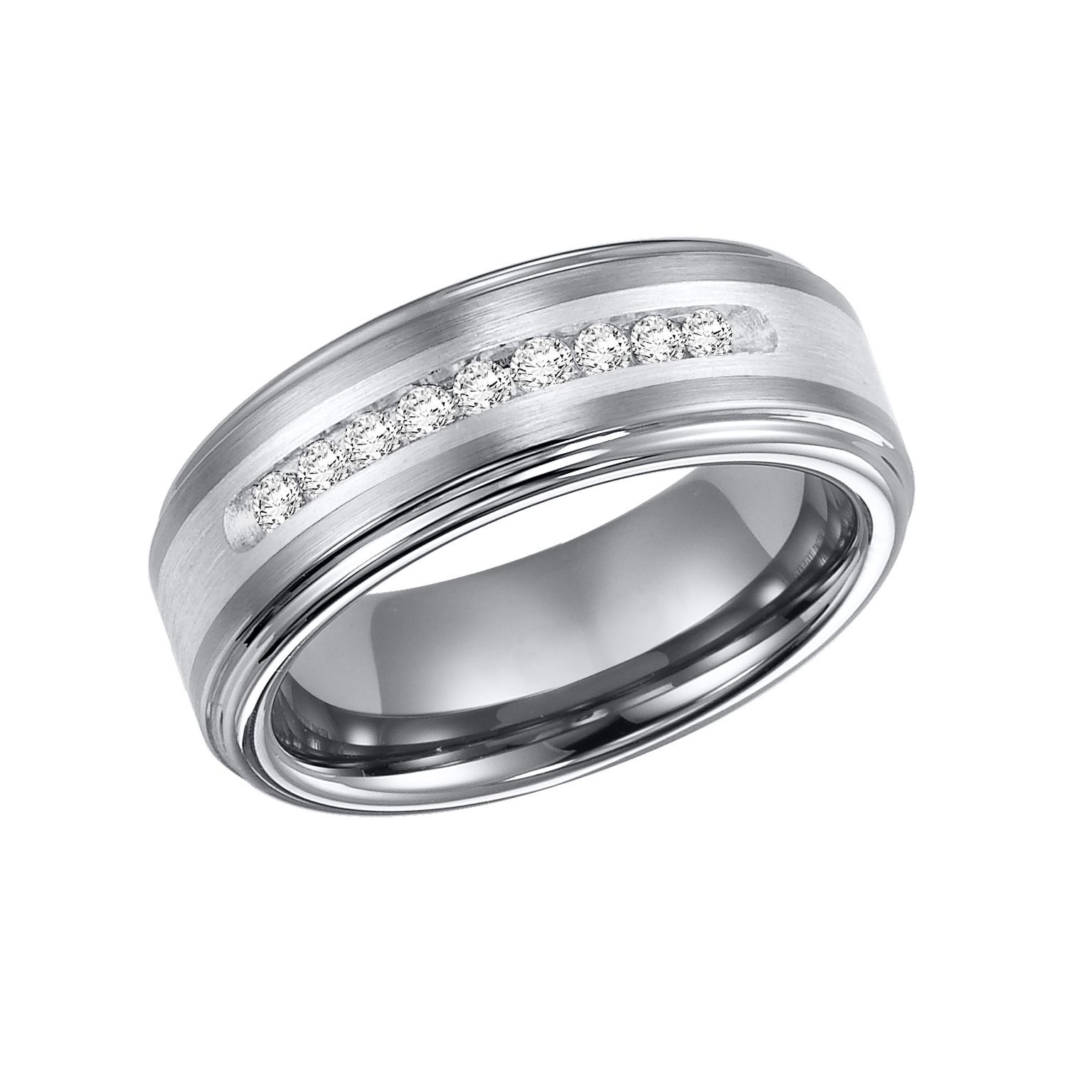 23 Ct T W Tungsten Silver Band H I I1 With Images Mens